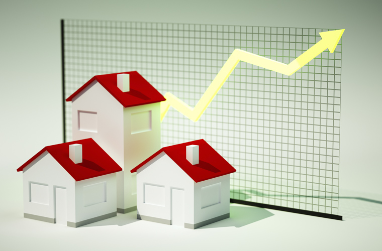 3d render image of houses with graph growing